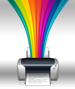 Printer illustration with colored rainbow