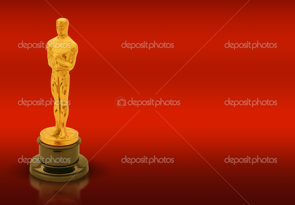 oscar statue with copy space on red background stock editorial