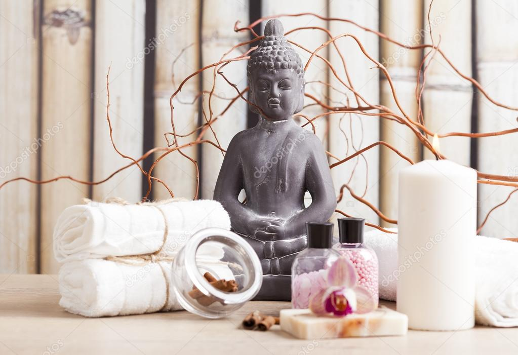 Ayurveda Symbols For Relaxation And Inner Beauty Buddha Meditation Stock Photo 48941577