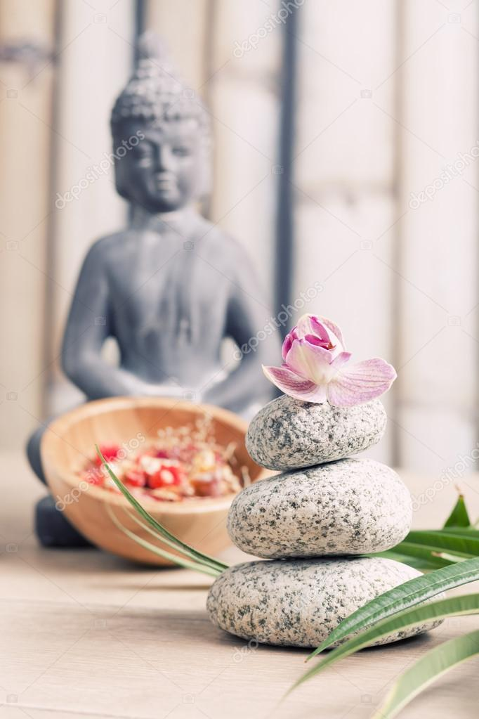 Ayurveda Symbols For Relaxation And Inner Beauty Buddha Meditation Stock Photo 48943145
