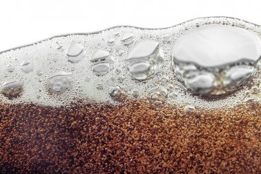 Macro bubble and  foam on the glass wall of cola