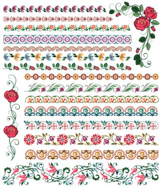 Set of colored flower borders