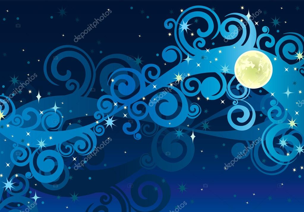 Night starry sky with yellow moon