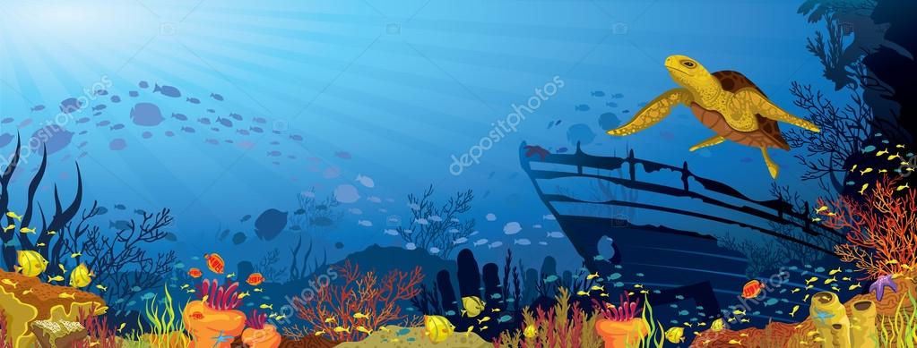 Colored coral reef with yellow turtle
