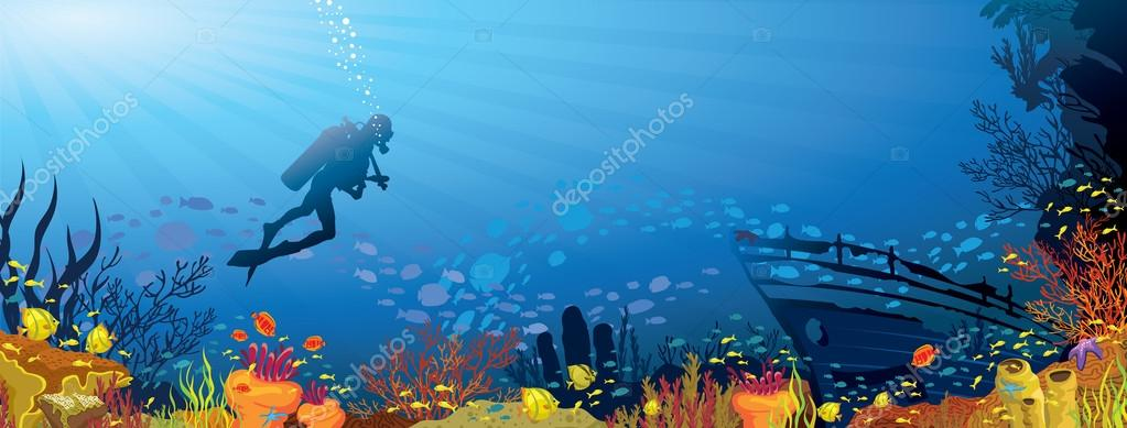 Colored coral reef with fish and diver