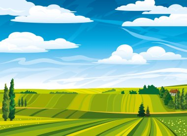 Green summer landscape with meadows and trees on a cloudy sky stock vector