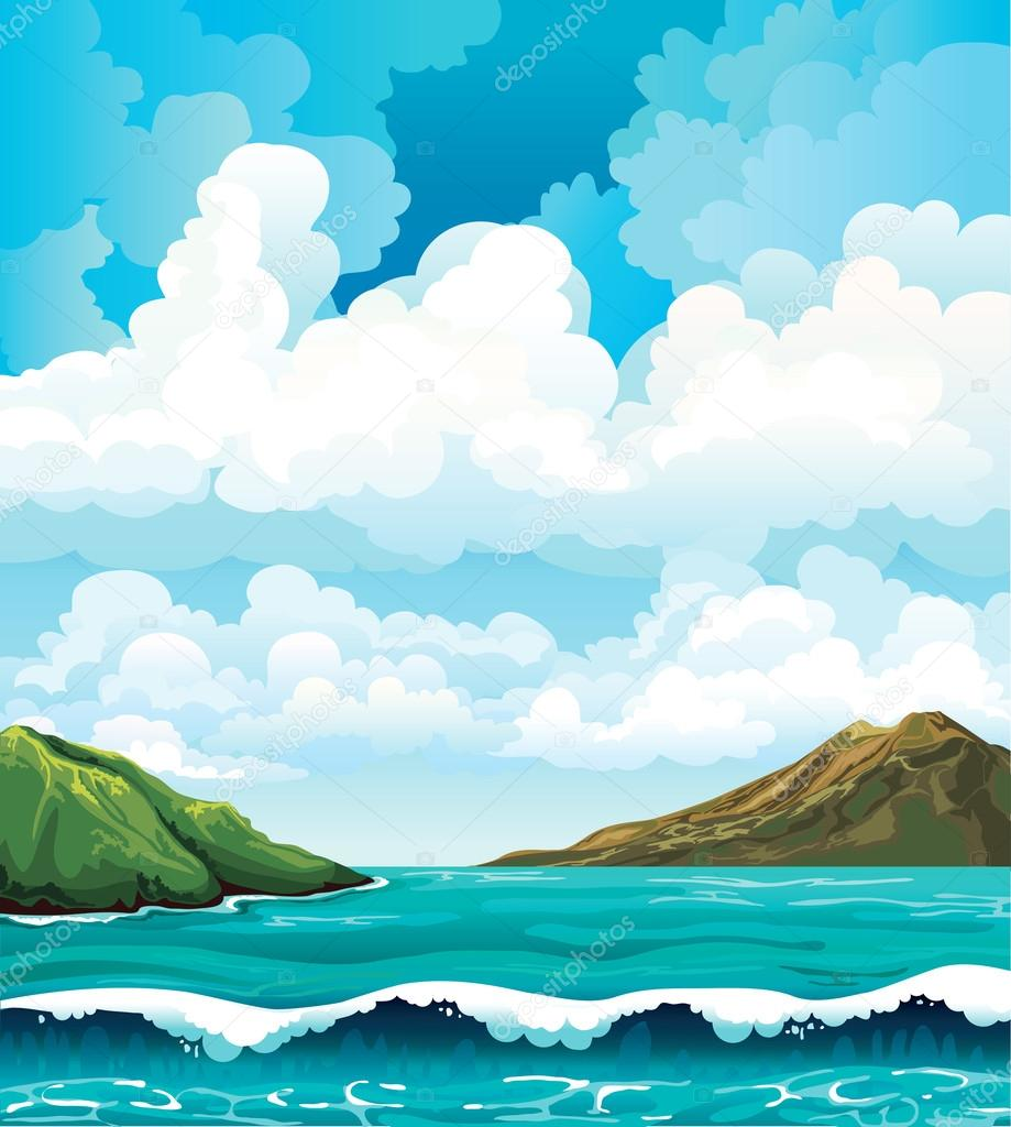 Seascape with waives and islands