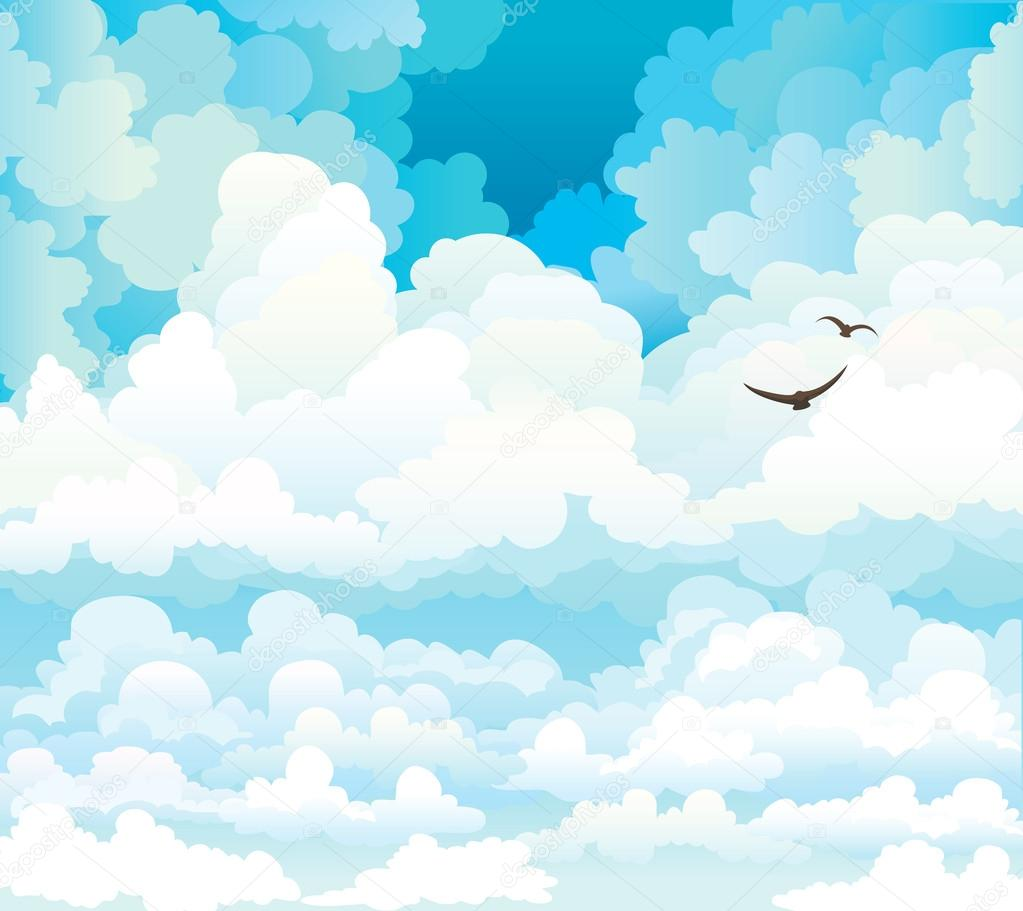 Vector clouds on a blue sky with birds