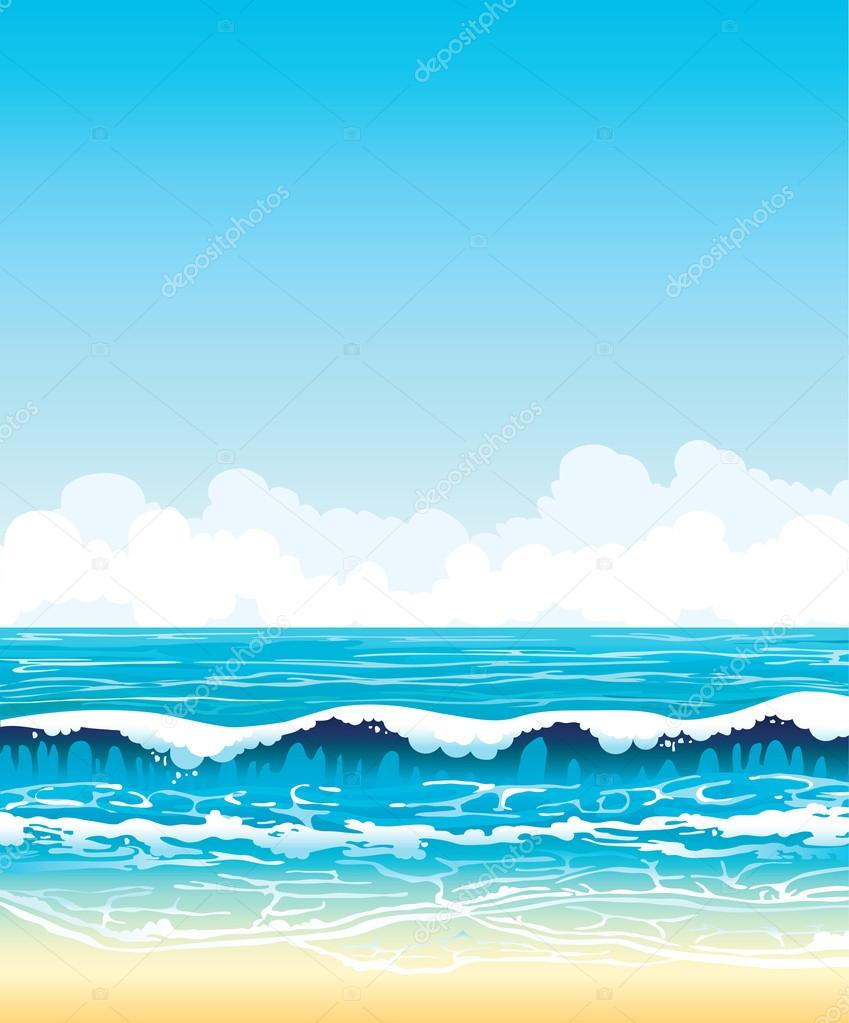 Sea with waves and sandy beach on a blue sky