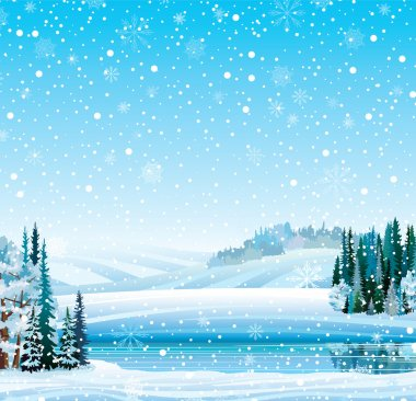 Winter landscape with frozen lake and forest