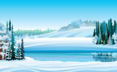 Vector winter landscape with lake and forest