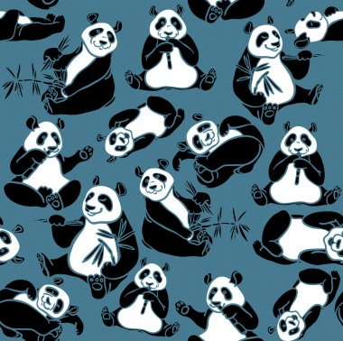 Set of cartoon funny panda