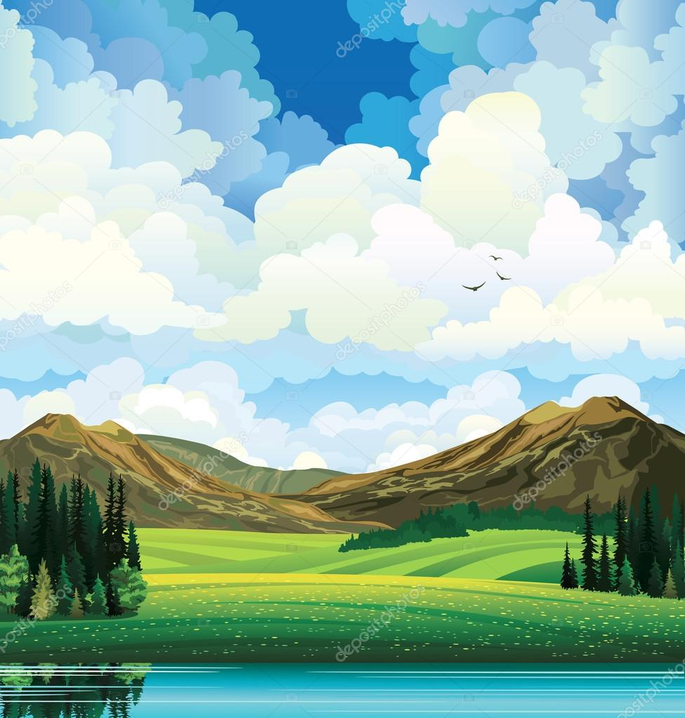Sammer landscape with meadow, forest, mountais and lake