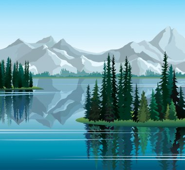 Pine trees reflected in water with mountains