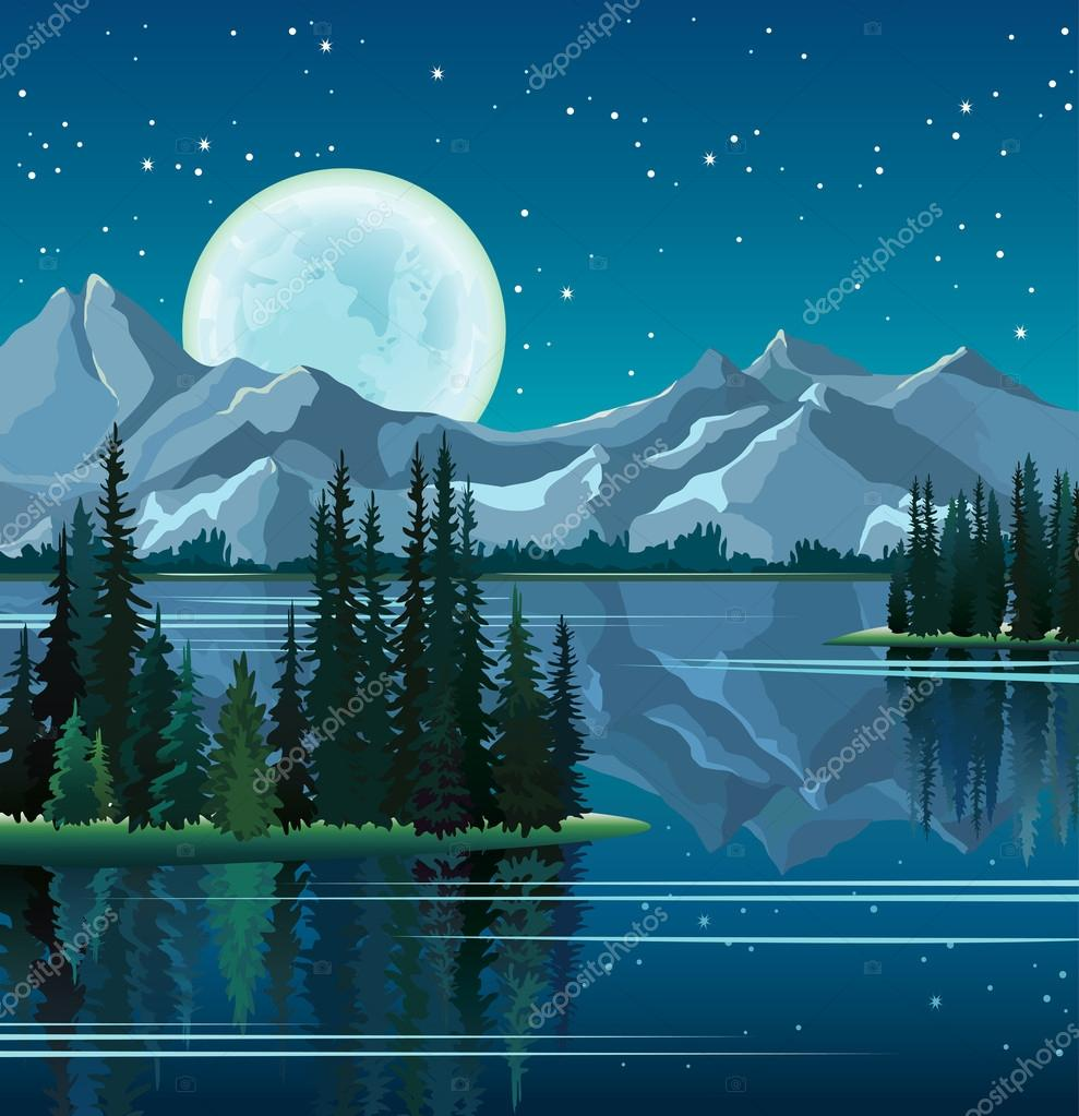 Pine trees and full moon reflected in water with mountains