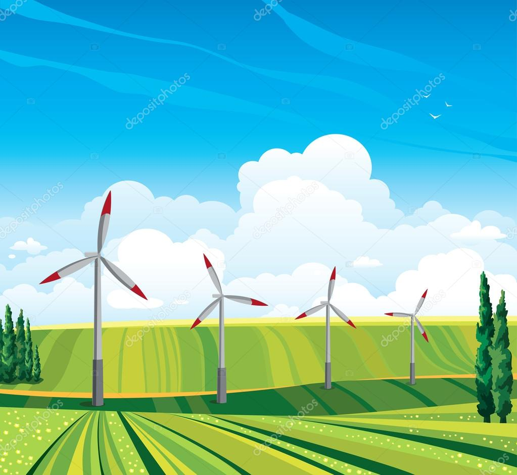 Wind generator and green meadow.