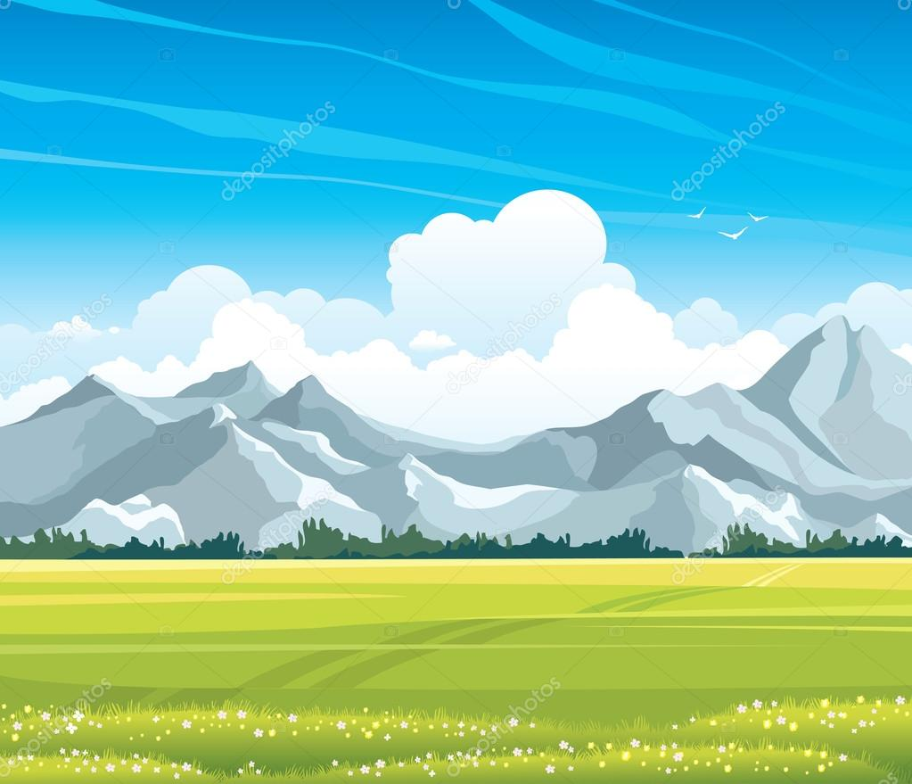 Summer landscape with meadow and mountains