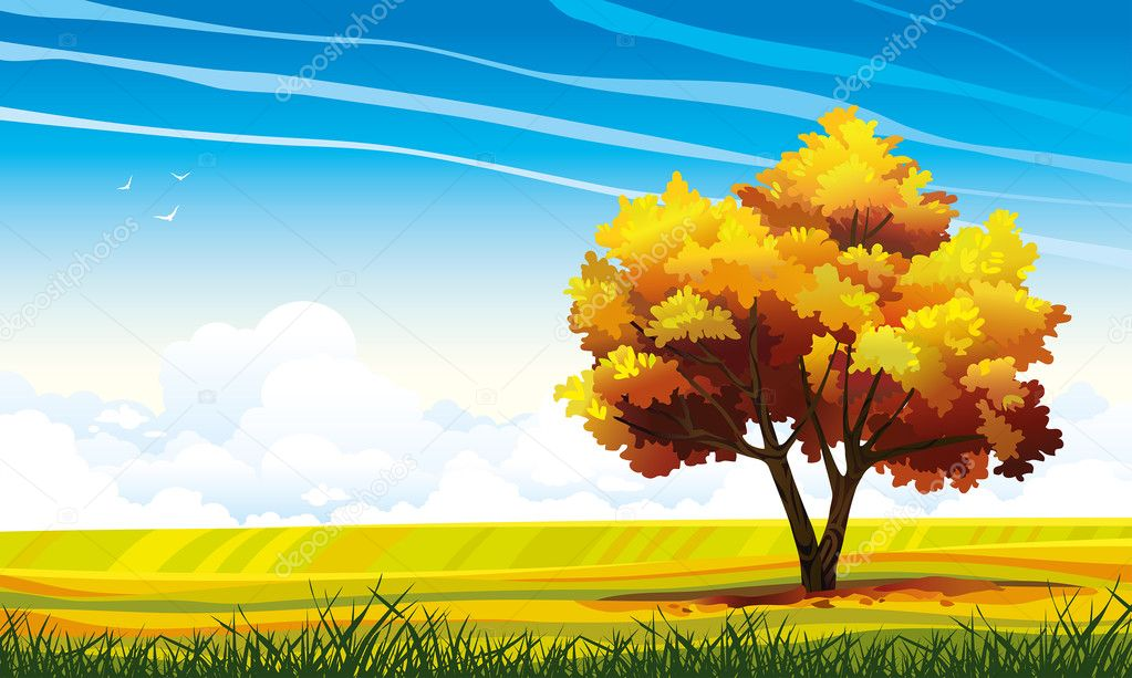 Autumn tree and meadow on a blue sky.
