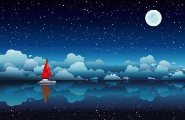 "Картина, постер, плакат, фотообои ""парусник в море и ночном небе "", артикул 29025767"