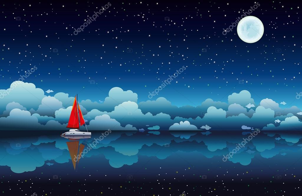 Sailing boat in a sea and night sky