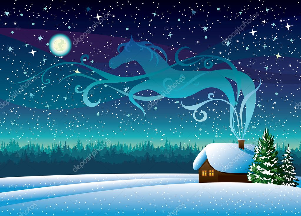 Winter landscape with hut and magic horse silhouette.