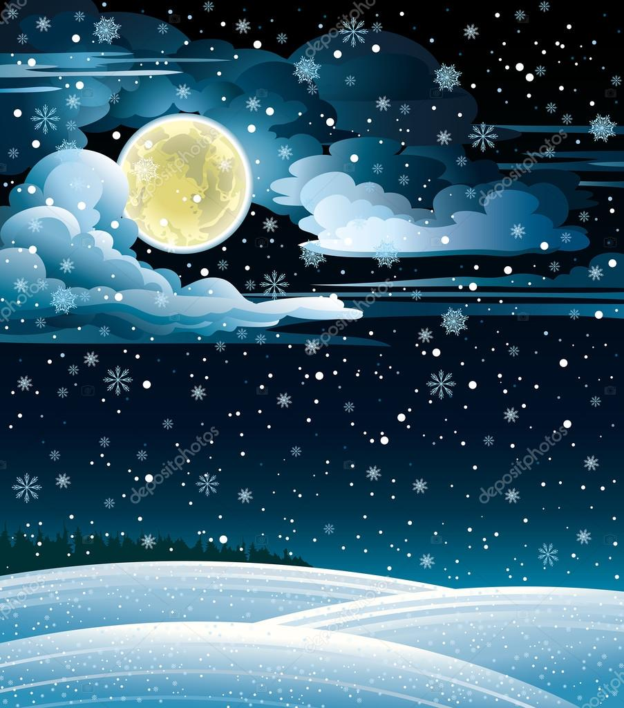 winter landscape and full moon   u2014 stock vector  u00a9 natuska