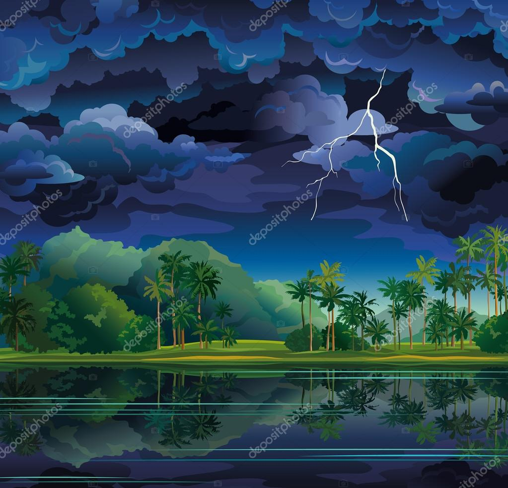 Tropical landscape with lightning and palms.