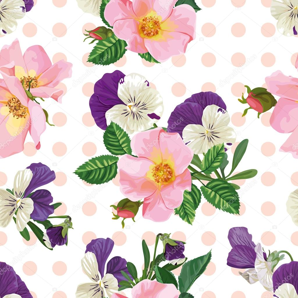 seamless pattern, bouquet of roses and forget-me-nots