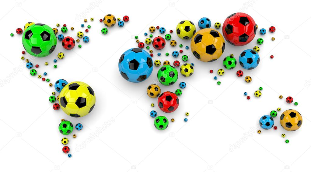 Soccer ball world map stock photo mrgao 41912659 colorful soccer balls arranged as a world map on white background 3d illustration photo by mrgao gumiabroncs Images