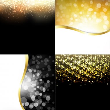 Gold Abstract Dark Backgrounds Set