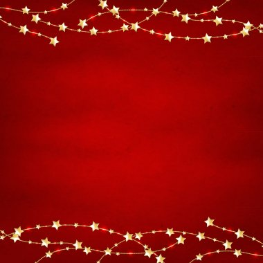 Xmas Red Retro Background With Gold Stars Garland