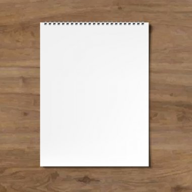 Blank Notebook With Wooden Background