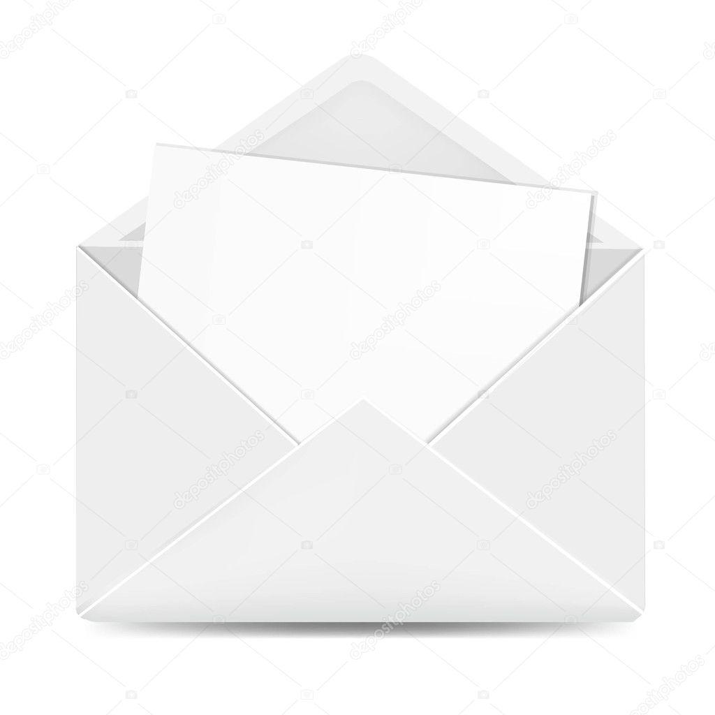 Open White Envelope With Paper — Stock Vector © sammep