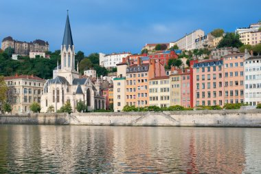 Colorful houses on the emankment in Lyon
