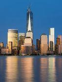 View of night Manhattan from Hudson river