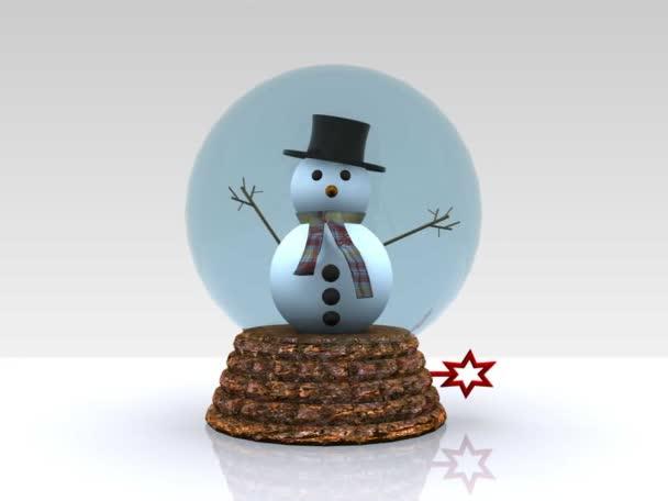 Szép üveg ball hóember köszön - 3d