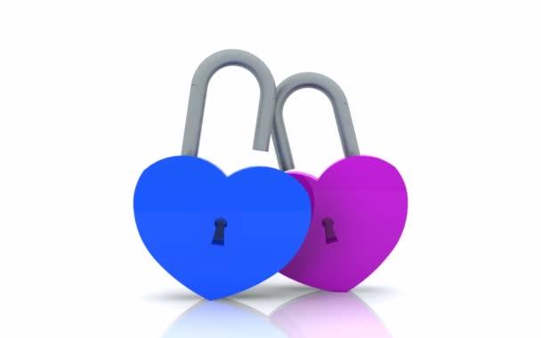Visací zámek ve tvaru srdce otevřené - 3d