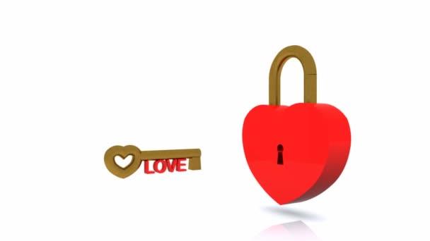 la chiave per il video di cuore - 3d