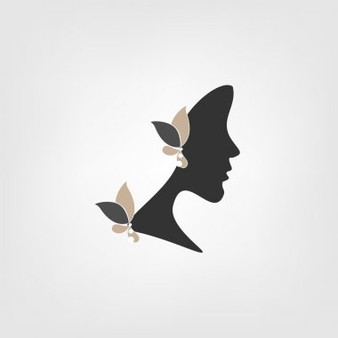 Logo - Profile of woman with stylized flowers clip art vector