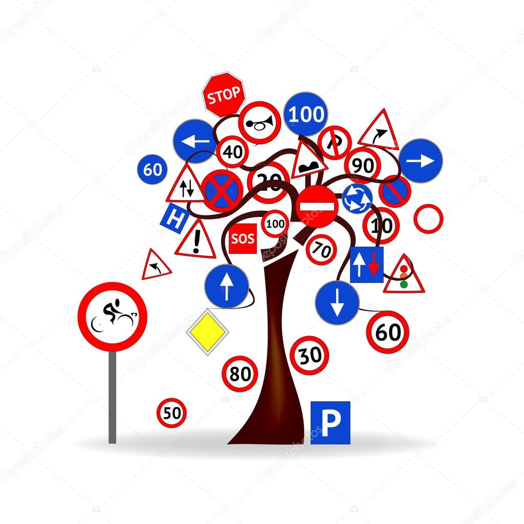 Abstract Design - Tree with road signs