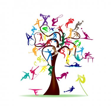 Abstract illustration - tree with colorful sport icons stock vector