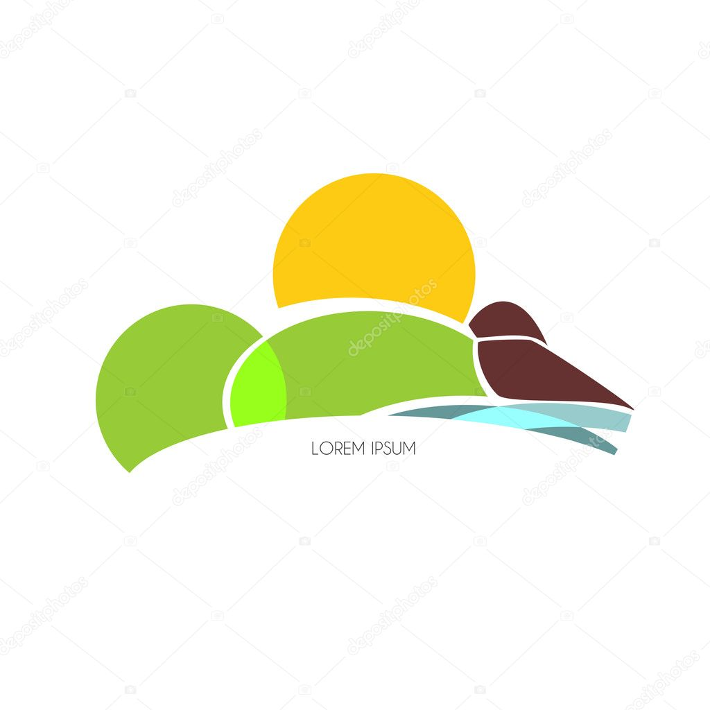 area with sun, sea, land and hill