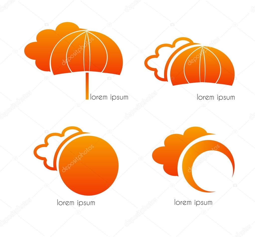 Clouds, umbrella and sun, orange