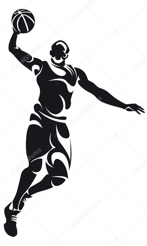 basketball player silhouette isolated on white vector by chebanova