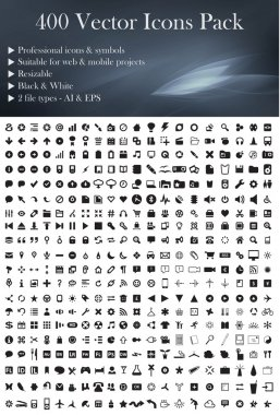 400 Vector Icons Pack´(Black Version)