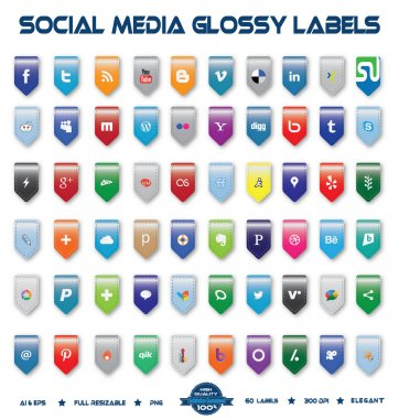Social Media Glossy Labels