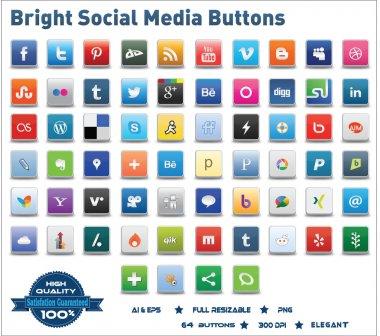 Bright Social Media Buttons