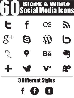 60 Black & White Social Media Icons