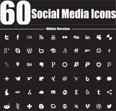 60 Social Media Icons White Version