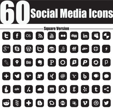 60 Social Media Icons Square Version
